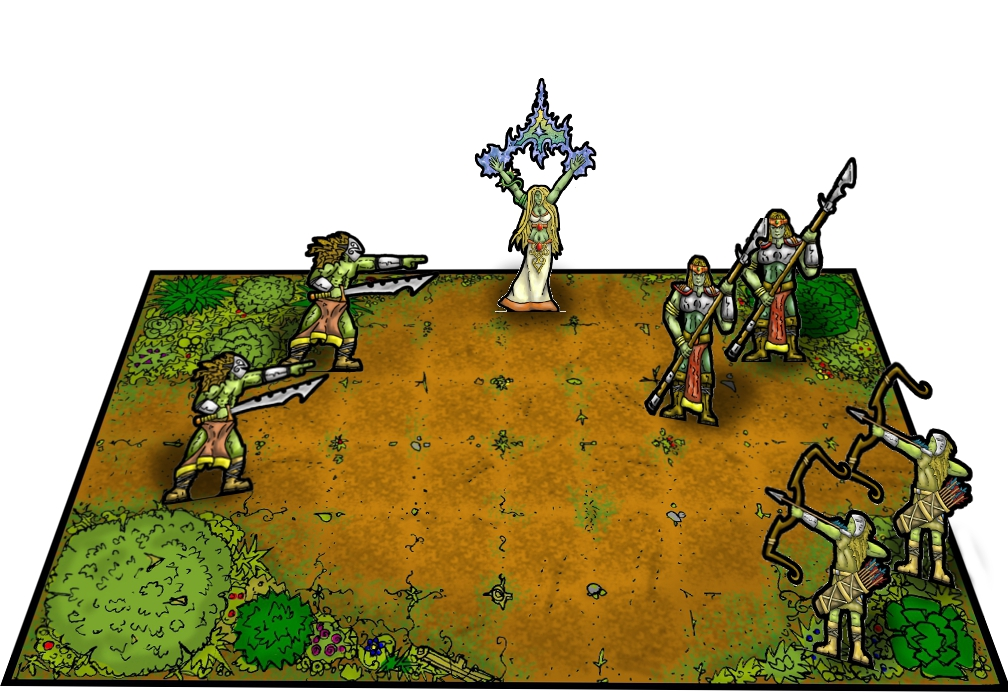 Forest clearing section with printed miniatures - mock-up
