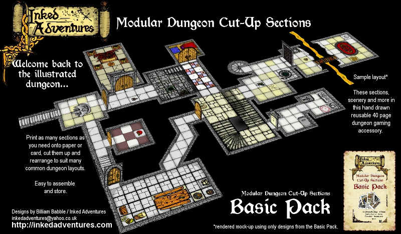 Example Layout Inked Adventures Modular Dungeon Sections