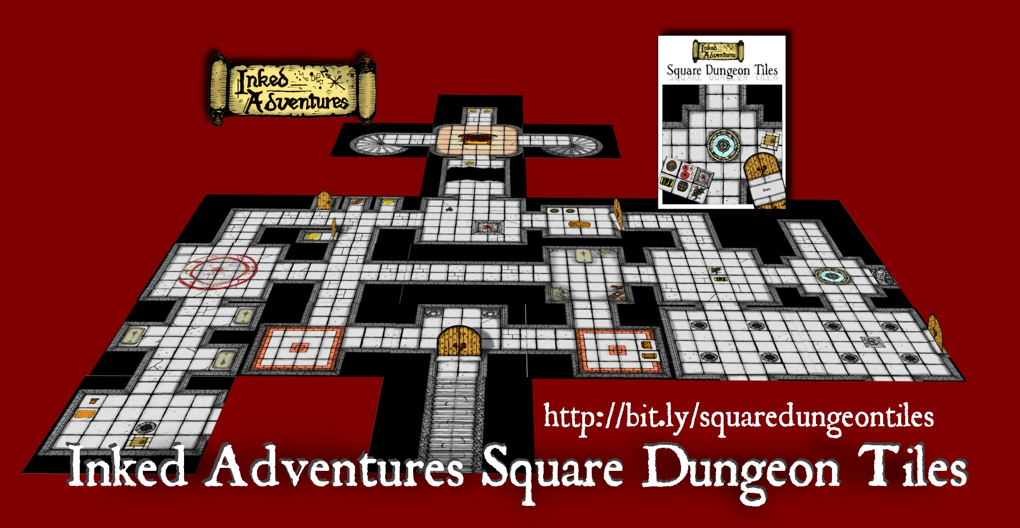Inked Adventures Square Dungeon Tiles promo mock-up map