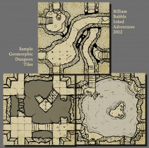 Geomorphic dungeon tiles by billiam babble Inked Adventures 2012