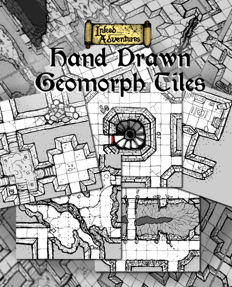Inked Adventures Hand Drawn Geomorph Tiles - Advert Graphic