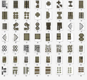 Thumbnail images of pages from the Crypts, Tombs & Catacombs Cut Up Sections Pack