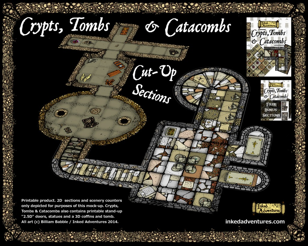 Mock-up of dungeon sections in use Crypts, Tombs & Catacombs Inked Adventures 2014