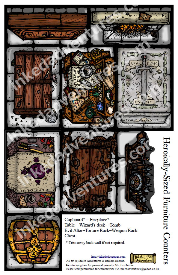 Inked Adventures Heroically Sized Furniture Counters - Inked Adventures |  Dungeon Masters Guild