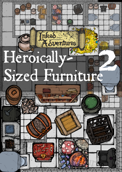 Heroically Sized Furniture cover page graphic - Drive Thru product info