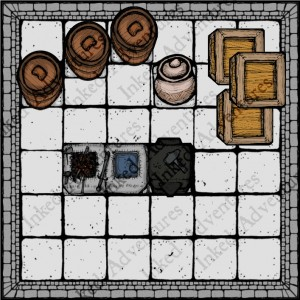 Example of Heroically Sized Furniture Counters in use with 6x6 Inked Adventures Room