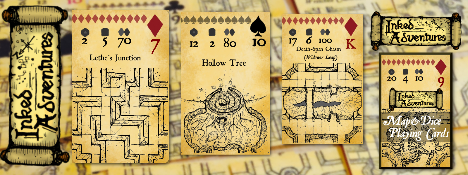 Art for Inked Adventures Map and Dice Playing Cards DriveThruRPG DriveThruCards TheGameCrafterEdition