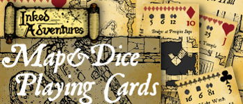 Inked Adventures Map and Dice Playing Cards title banner