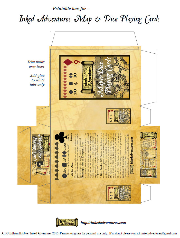 image regarding Printable Playing Card identified as Inked Adventures » Printable Box for Inked Adventures