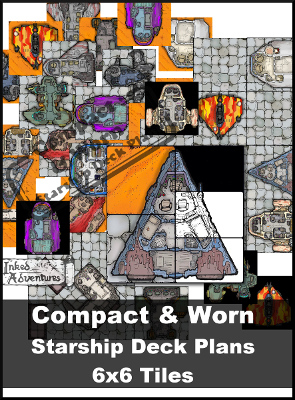 Cover graphic for Compact & Worn Starship Deck Plans 6x6 Tiles Inked Adventures