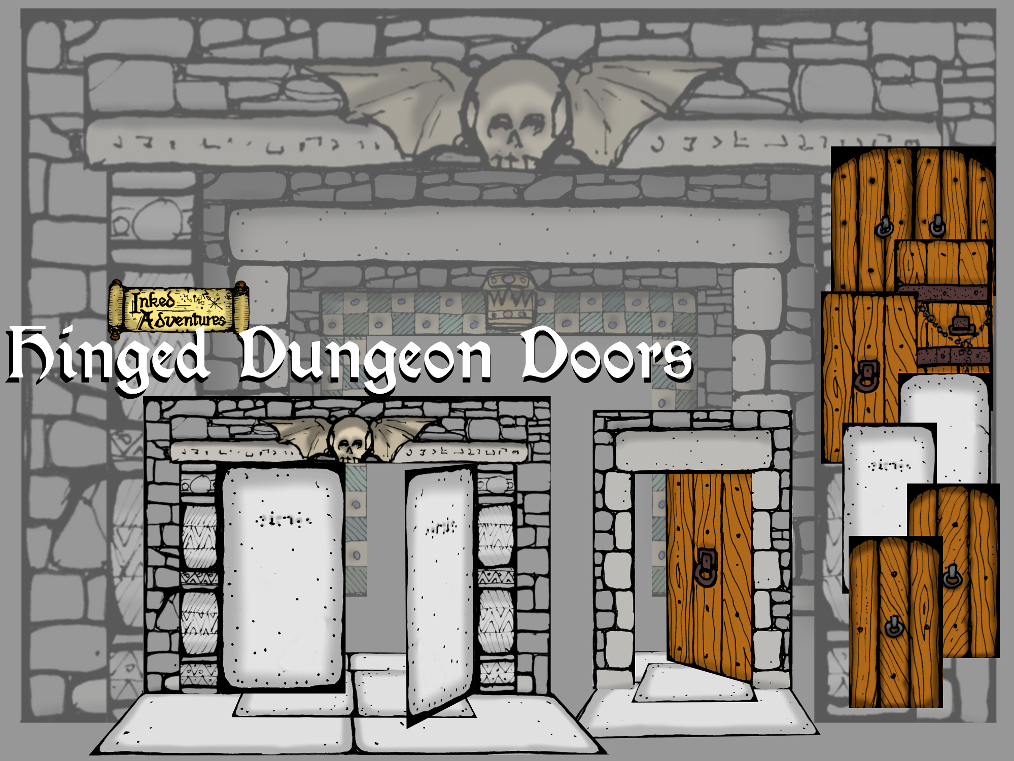 image about Printable Dungeon Tiles Pdf titled Hinged Dungeon Doorways - Inked Adventures
