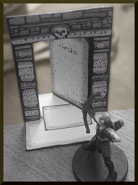 Single Hinged Dungeon Doorway with figure for scale Inked Adventures 2015