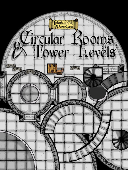 Circular Rooms and Tower Levels cover and example graphic Inked Adventures 2016