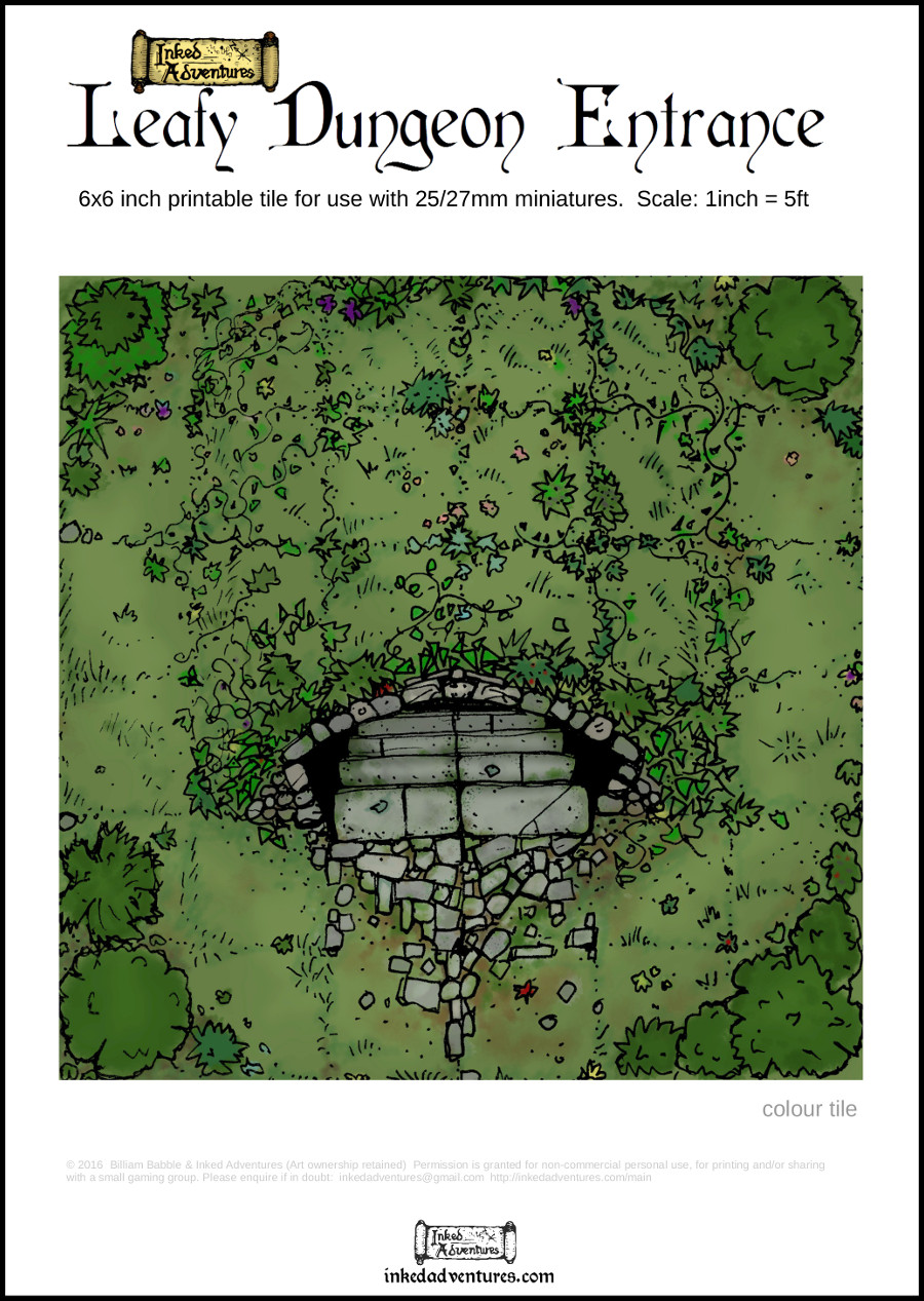 Leafy Dungeon Entrance Printable Tile Cover Graphic  Inked Adventures 2016