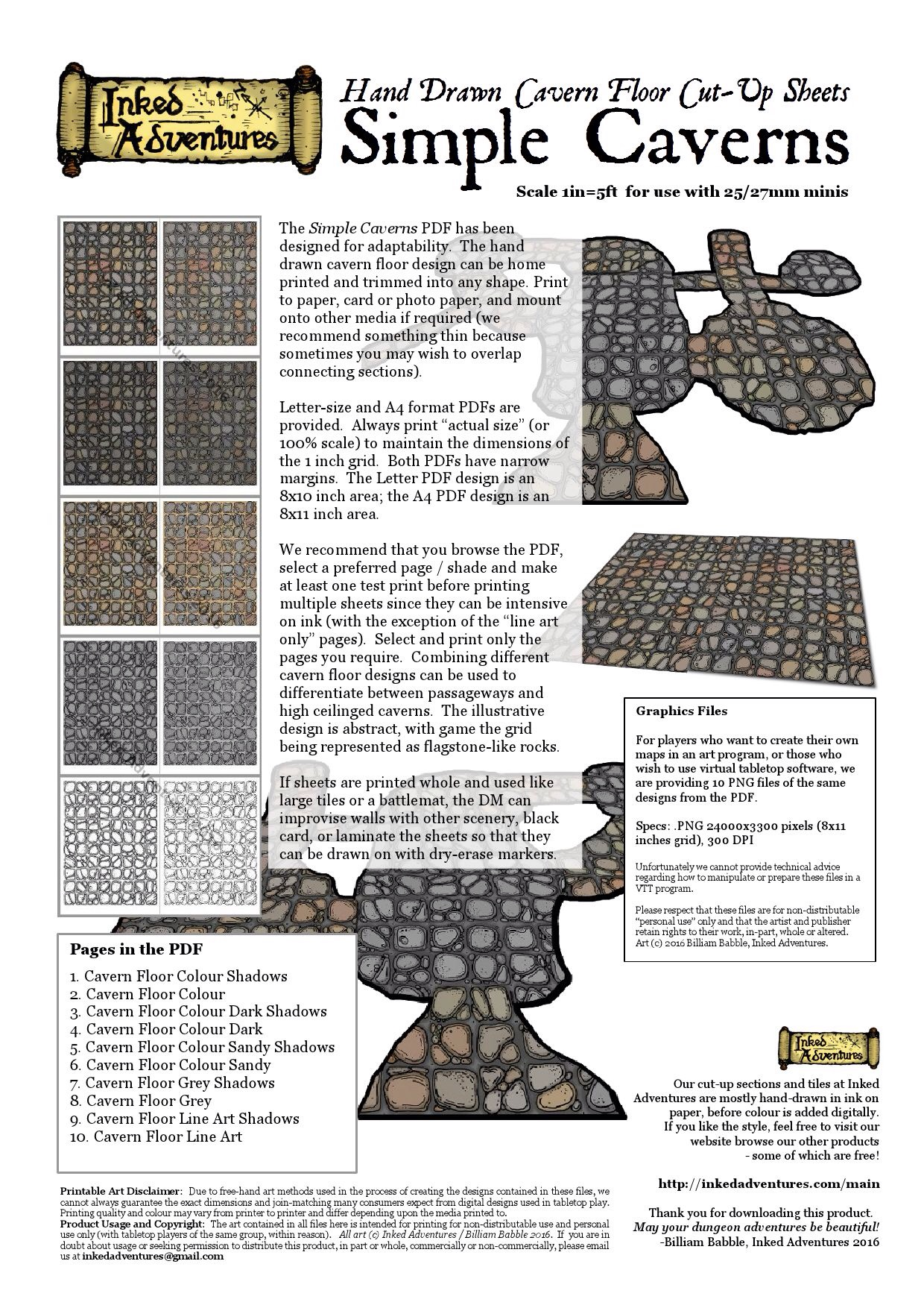 Introductory Graphic and Instructions for Simple Caverns Inked Adventures 2016