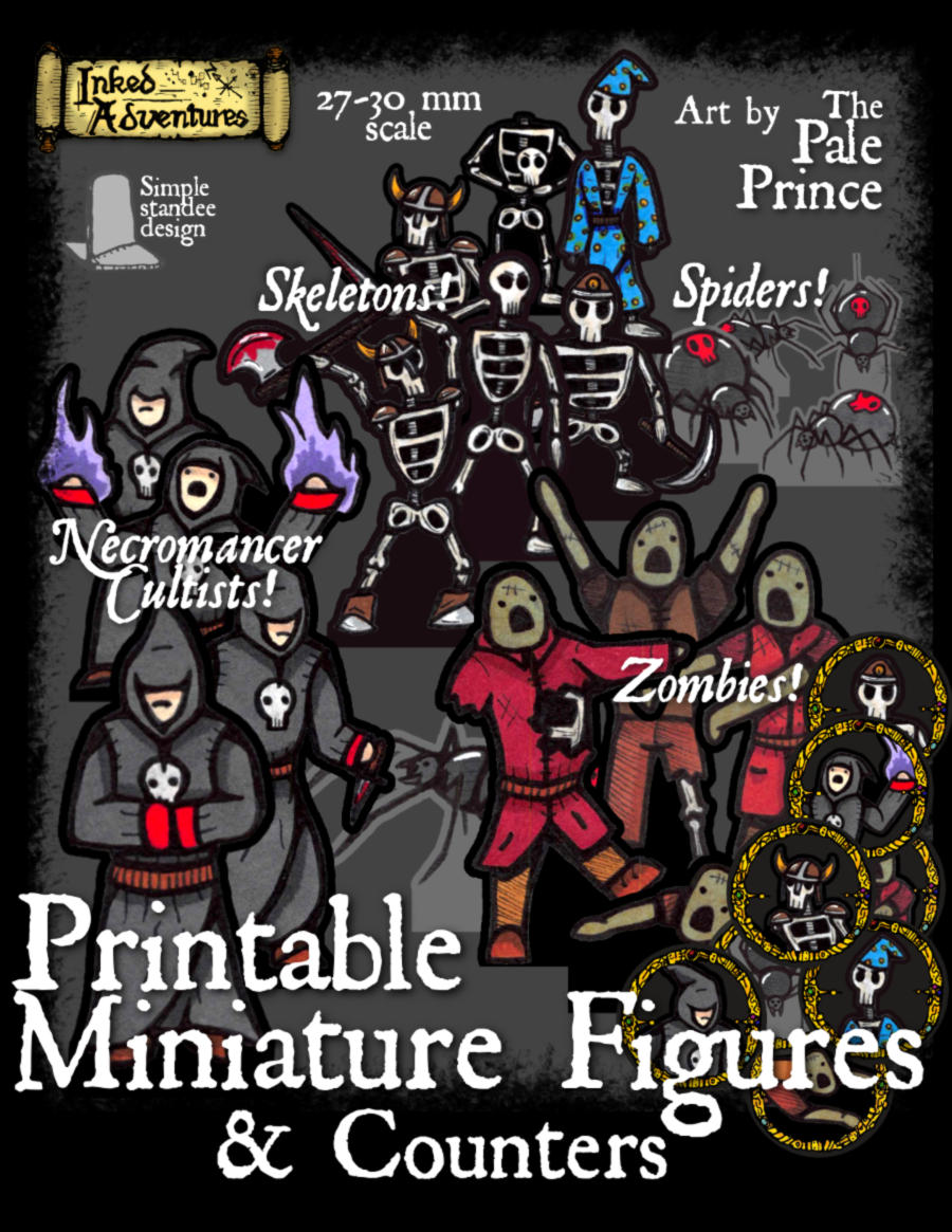Cover mock-up of minis and counters in PDF click for larger