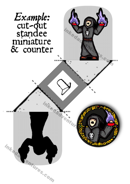 Example standee mini and counter token (Inked Adventures, The PalePrince 2017)