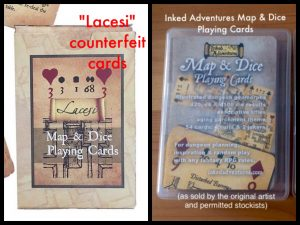 """Fake cards by """"Lacesi"""" on the Left. My Inked Adventures Playing Cards on the Right, Note the scroll banners."""